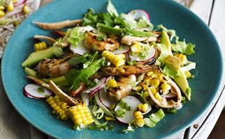 CHAR-GRILLED PRAWN   and Corn Salad