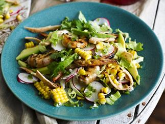 CHAR-GRILLED PRAWN   and Corn Salad