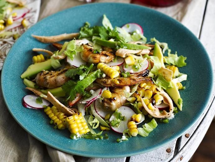 "**[Char-grilled prawn and corn salad](https://www.womensweeklyfood.com.au/recipes/char-grilled-prawn-and-corn-salad-10757|target=""_blank"")**"
