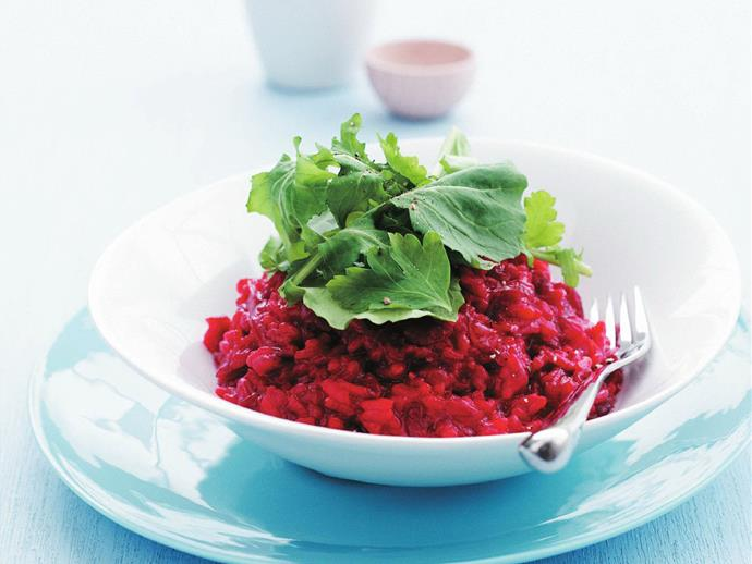 """**[Beetroot risotto with rocket](https://www.womensweeklyfood.com.au/recipes/beetroot-risotto-with-rocket-10880
