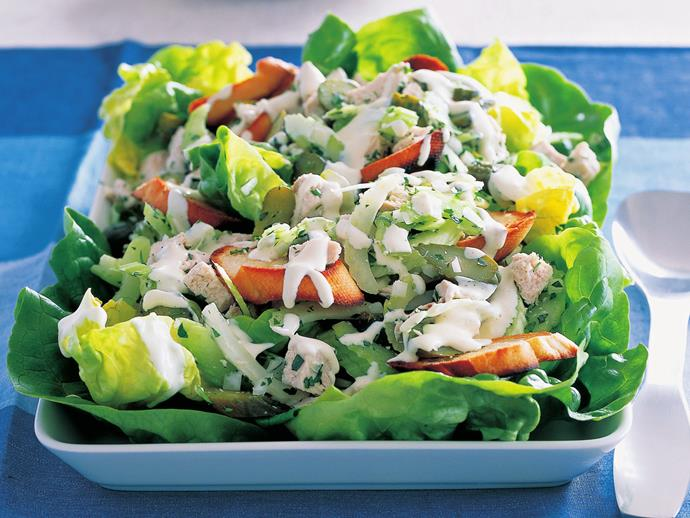 "**[Old-fashioned chicken salad](https://www.womensweeklyfood.com.au/recipes/old-fashioned-chicken-salad-16580|target=""_blank"")**"
