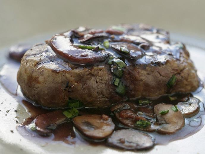 """**[Mixed mushroom, red wine and chive sauce](https://www.womensweeklyfood.com.au/recipes/mixed-mushroom-red-wine-and-chive-sauce-4374