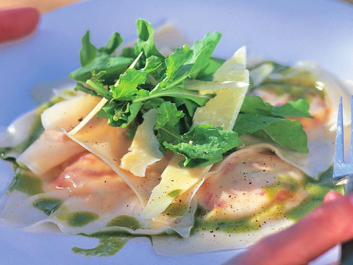 """**[Ricotta & capsicum ravioli with rocket dressing](http://www.womensweeklyfood.com.au/recipes/ricotta-and-capsicum-ravioli-with-rocket-dressing-10512