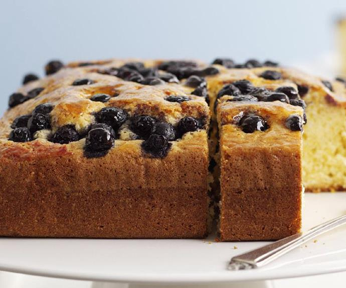 Olive oil cake with blueberries
