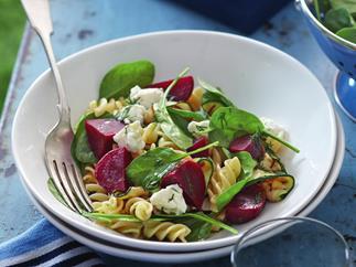 Baby beetroot pasta salad