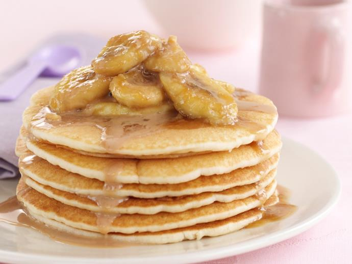 "[Banana pancakes with butterscotch sauce](https://www.womensweeklyfood.com.au/recipes/banana-pancakes-with-butterscotch-sauce-6351|target=""_blank"")"