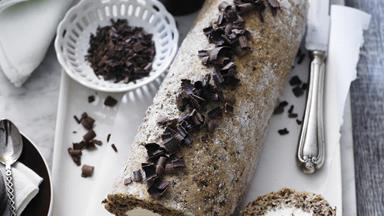Grated chocolate sponge roll