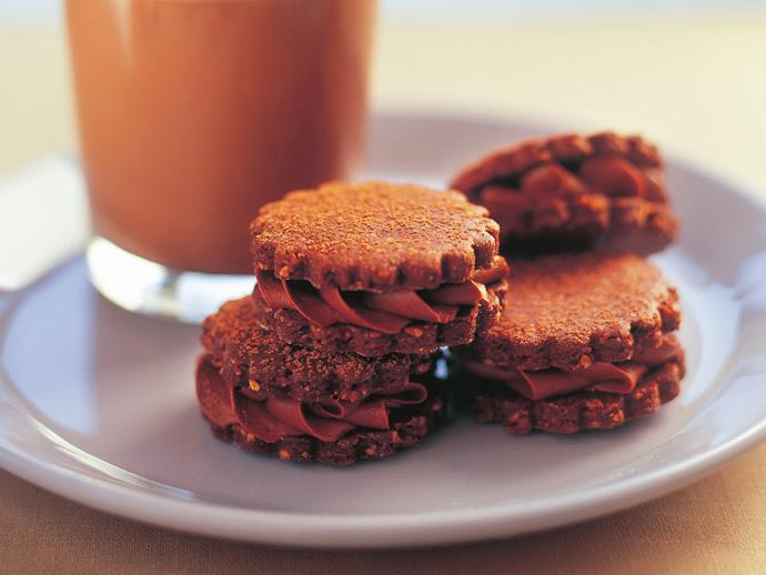 "**[Choc-hazelnut cookie sandwiches](https://www.womensweeklyfood.com.au/recipes/choc-hazelnut-cookie-sandwiches-10217|target=""_blank"")**"