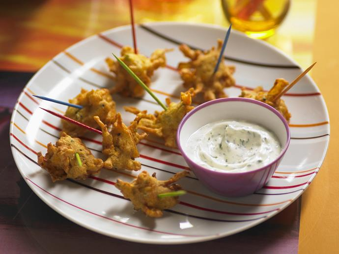 "**[Onion and kumara pakoras](https://www.womensweeklyfood.com.au/recipes/onion-and-kumara-pakoras-10248|target=""_blank"")**"