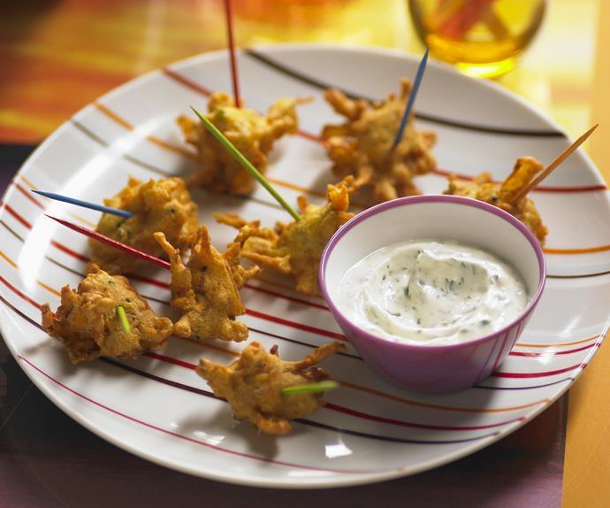 onion and kumara pakoras