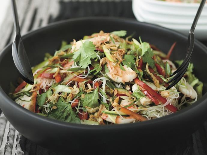 "**[Prawn and vermicelli salad](https://www.womensweeklyfood.com.au/recipes/prawn-and-vermicelli-salad-4162|target=""_blank"")**"