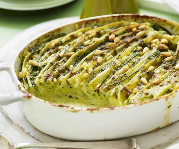 potato, zucchini and pesto bake