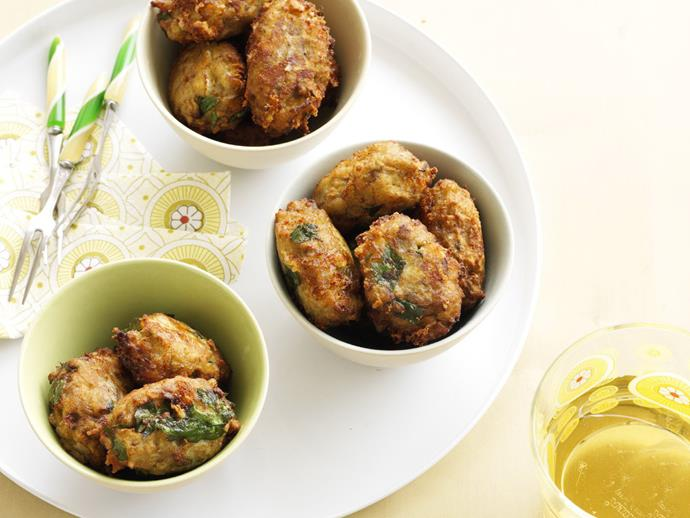 "**[Eggplant fritters](https://www.womensweeklyfood.com.au/recipes/eggplant-fritters-9628|target=""_blank"")**"