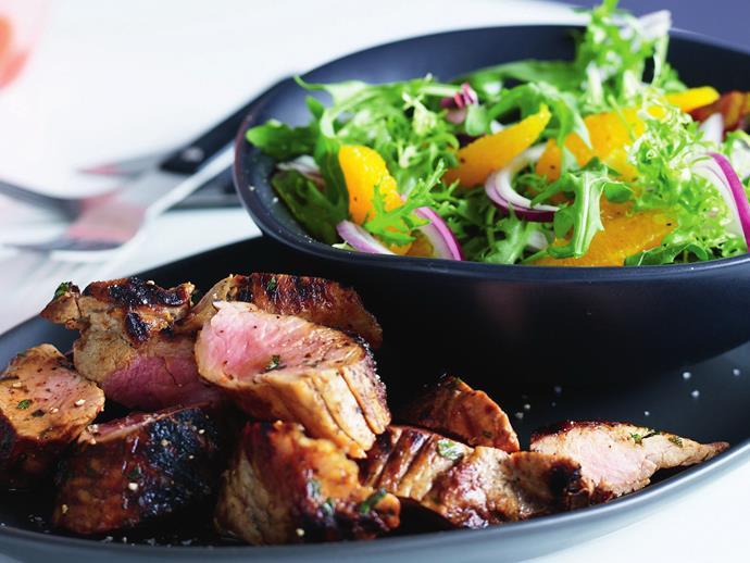 "**[Marmalade pork fillet with orange salad](https://www.womensweeklyfood.com.au/recipes/marmalade-pork-fillet-with-orange-salad-4045|target=""_blank"")**"