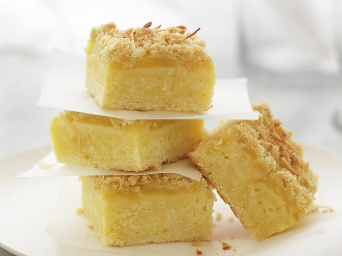 """Enjoy a slice of slice sweet [coconut and pineapple slice](https://www.womensweeklyfood.com.au/recipes/coconut-and-pineapple-slice-9841