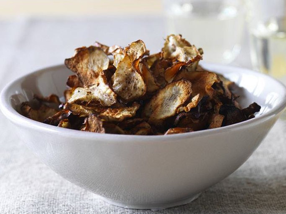"Despite its name the **Jerusalem artichoke** is not actually related to artichokes. In fact, it is a variety of sunflower with edible tubers and like other tubers (potatoes, yams, sweet potato and cassava, for example) is extremely versatile! These [Jerusalmen artichoke crisps](https://www.womensweeklyfood.com.au/recipes/jerusalem-artichoke-crisps-9845|target=""_blank"") are a great garnish for the top of a [Jerusalem artichoke soup](https://www.womensweeklyfood.com.au/recipes/jerusalem-artichoke-soup-with-caramelised-onion-and-artichoke-crisps-14140