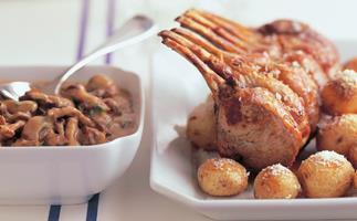 Veal rack with roasted mushroom sauce