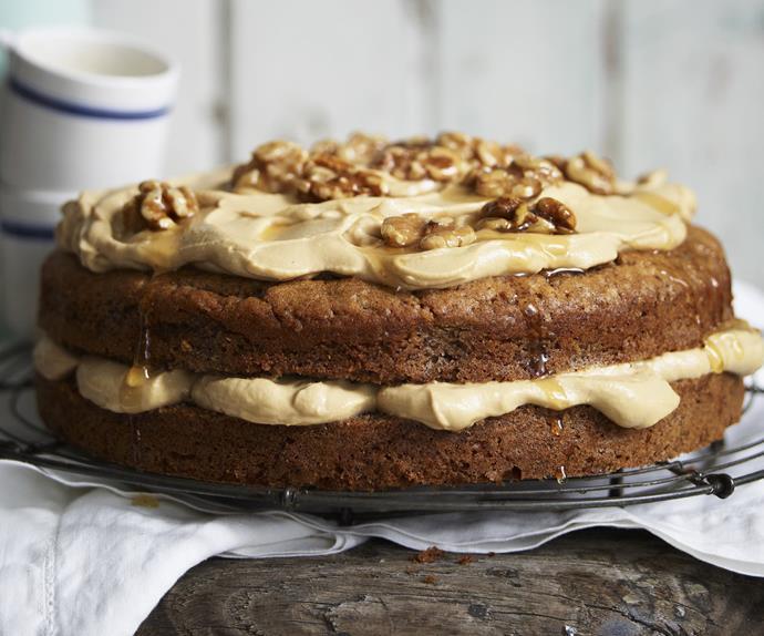 walnut cake with espresso mascarpone cream