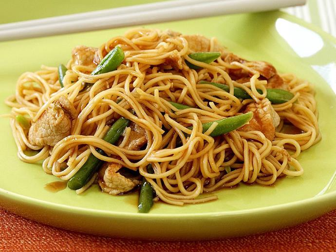 """Fast and fresh, this [pork and green bean noodle stir fry](https://www.womensweeklyfood.com.au/recipes/pork-and-green-bean-noodle-stir-fry-9367
