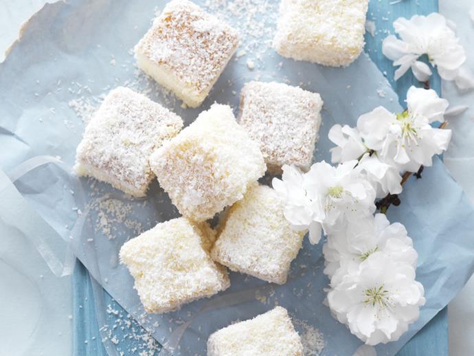 "**[White chocolate lamingtons](https://www.womensweeklyfood.com.au/recipes/white-chocolate-lamingtons-9411|target=""_blank"")**"