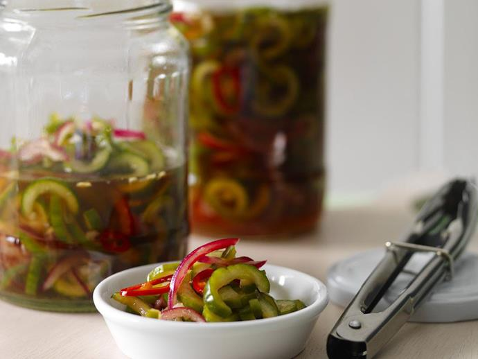 """Make your own spicy and delicious [Thai cucumber pickle](http://www.womensweeklyfood.com.au/recipes/thai-cucumber-pickle-9441 target=""""_blank"""") with this quick and easy recipe."""