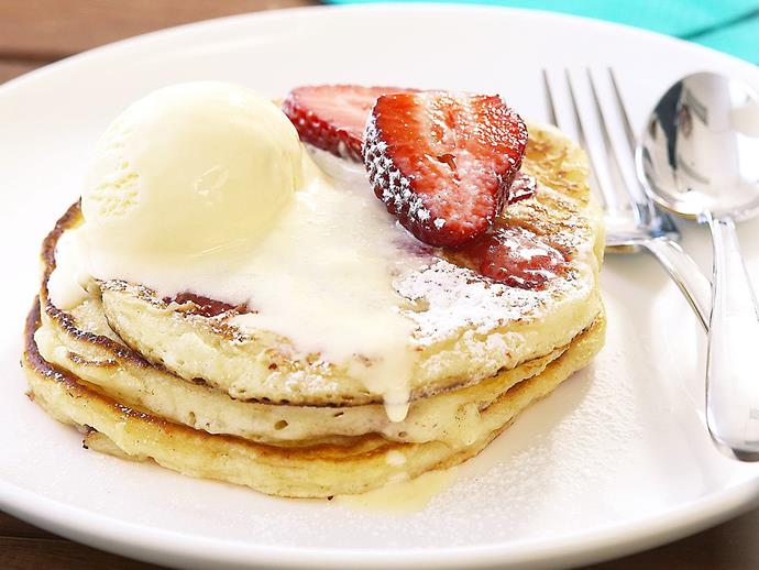 "**[Strawberry buttermilk pancakes](https://www.womensweeklyfood.com.au/recipes/strawberry-buttermilk-pancakes-9485|target=""_blank"")**  Light, fluffy buttermilk pancakes are delicious enough to serve as dessert as well as breakfast, especially when they're topped with strawberries and ice-cream!"