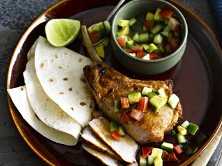 MEXICAN PORK CUTLETS with Avocado Salsa