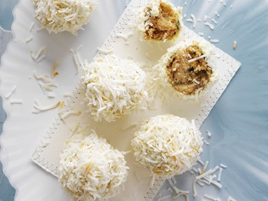 White chocolate and passionfruit coconut crunch truffles