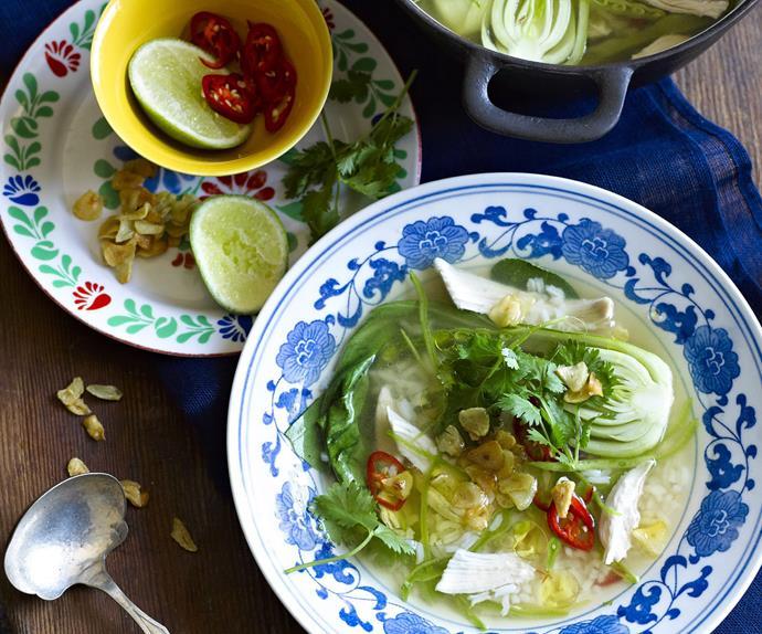 CHICKEN, LEMON GRASS LEMON GRASS and Rice Soup