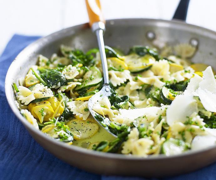 FARFALLE WITH ZUCCHINI  LEMON Garlic Sauce