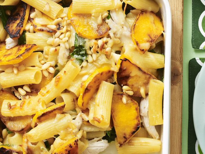 """**[Chicken and pumpkin pasta bake](https://www.womensweeklyfood.com.au/recipes/chicken-and-pumpkin-pasta-bake-8870 target=""""_blank"""")**  Pick up a cooked chicken on your way home from work and you can have this delicious and hearty meal on the table soon after you walk in the front door."""