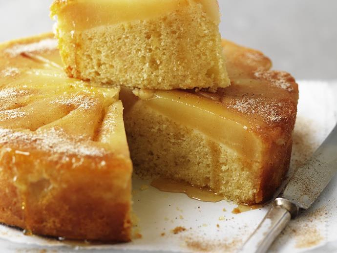 "**[Poached pear and nutmeg teacake](https://www.womensweeklyfood.com.au/recipes/poached-pear-and-nutmeg-teacake-3440|target=""_blank"")**"