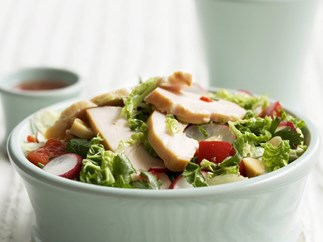 Crunchy cabbage, brazil nut and smoked chicken salad