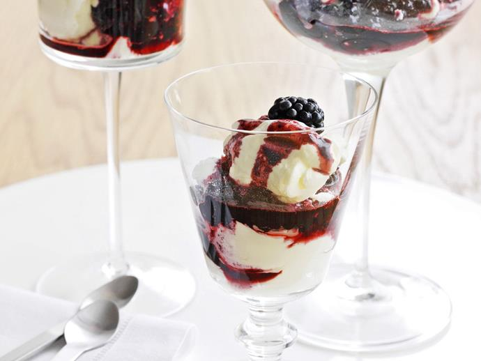 """**[Blackberry parfait](https://www.womensweeklyfood.com.au/recipes/blackberry-parfait-15256