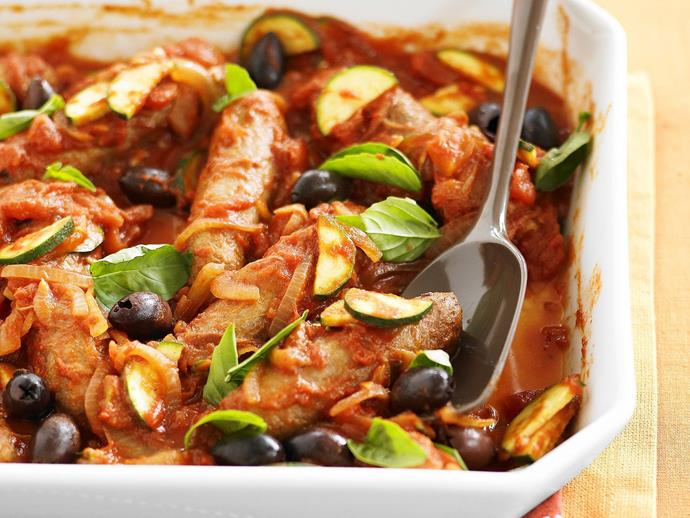 "**[Mediterranean baked sausages](https://www.womensweeklyfood.com.au/recipes/mediterranean-baked-sausages-3272|target=""_blank"")**  A quick and easy dish that brings together all the best Mediterranean flavours."