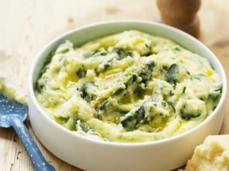 cheesy potato and spinach mash