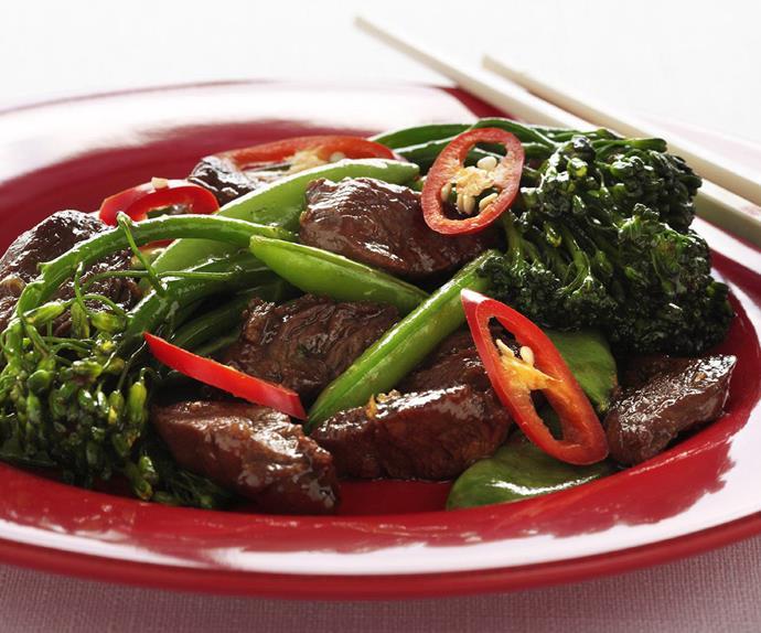 Lamb char siu stir-fry