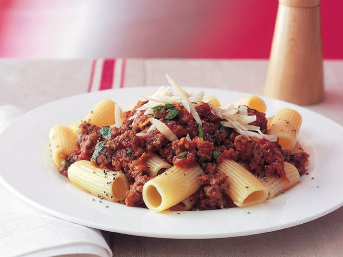 "**[Rigatoni bolognese](https://www.womensweeklyfood.com.au/recipes/rigatoni-bolognese-7774|target=""_blank"")**  Rich bolognese sauce, replete with sausage, pork and veal, is perfectly paired with al dente rigatoni tubes."