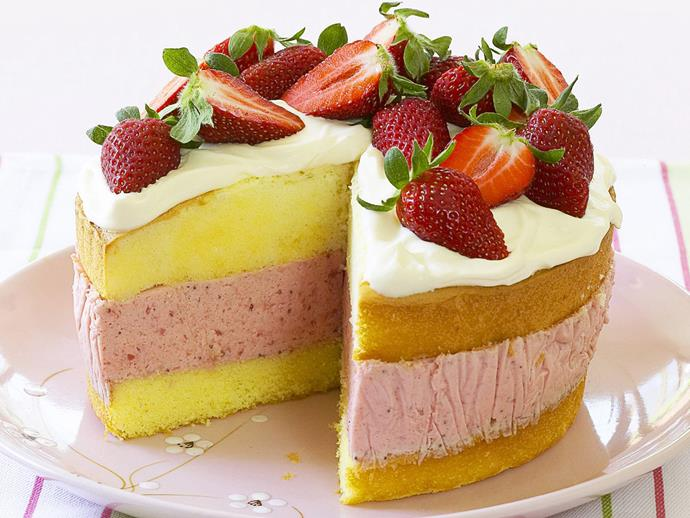 "With a rosy pink filling sandwiched between layers of light sponge, this [strawberry mousse cake](https://www.womensweeklyfood.com.au/recipes/strawberry-mousse-cake-15289|target=""_blank"") is visually stunning. It's also deceptively easy to make and assemble. Yes, the store bought sponge has a place in the Australian Women's Weekly Test Kitchen!"