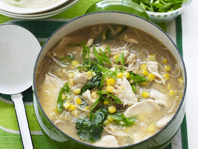 "**[Chicken, corn and noodle soup](https://www.womensweeklyfood.com.au/recipes/chicken-corn-and-noodle-soup-7857|target=""_blank"")**"
