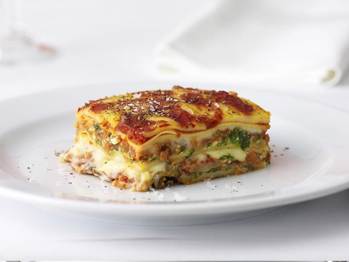 "A delicious and flavourful [Italian sausage and three-cheese lasagne](https://www.womensweeklyfood.com.au/recipes/italian-sausage-and-three-cheese-lasagne-7930|target=""_blank"")."