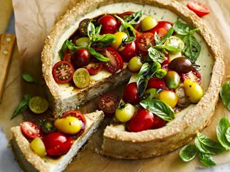 TOMATO AND GOAT'S CHEESE TART with Rice and Seed Crust