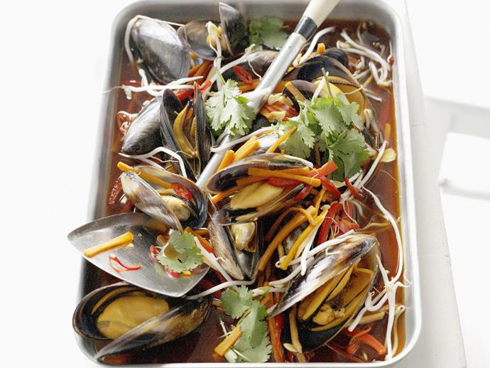 """**[Baked mussels infused with asian flavours](https://www.womensweeklyfood.com.au/recipes/baked-mussels-infused-with-asian-flavours-8009
