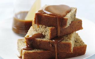 BANANA CAKE with Caramel Sauce