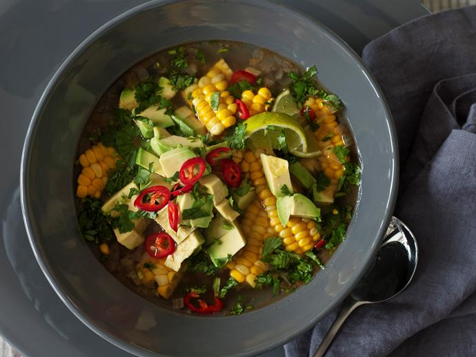 "**[Avocado and sweetcorn soup](https://www.womensweeklyfood.com.au/recipes/avocado-and-sweetcorn-soup-16487|target=""_blank"")**  This is gorgeous, capturing the full flavour of late summer corn, offset with creamy avocado and lime and an intriguing mix of spices, with added pungency from coriander and chilli."