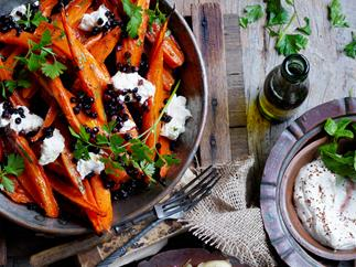 Honey roasted carrots with labne