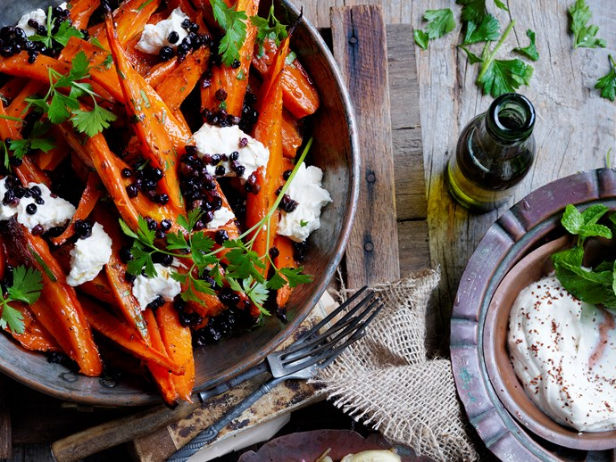 """These **[honey roasted carrots with labne](https://www.womensweeklyfood.com.au/recipes/honey-roasted-carrots-with-labne-28521
