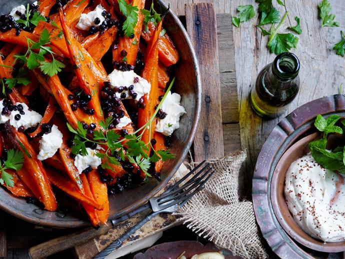 "**Honey roasted carrots with labne** <br><br> This vegetable side dish makes the perfect accompaniment to your meat and seafood mains.  <br><br> [**Read the full recipe here**](https://www.womensweeklyfood.com.au/recipes/honey-roasted-carrots-with-labne-28521|target=""_blank"")"