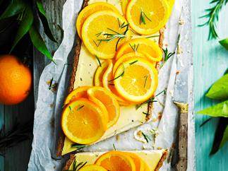 Sugar-free rosemary, labne and orange tart