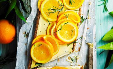Sugar-free rosemary, labne and orange tart